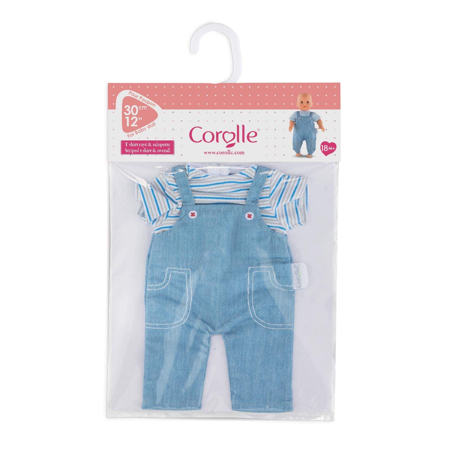 Corolle Mon Premier Poupon 12 Striped T-Shirt /& Overalls Toy Baby Doll