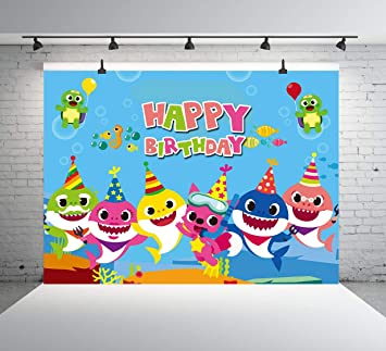 Amazon.com : Cartoon Baby Shark Backdrops Underwater ...