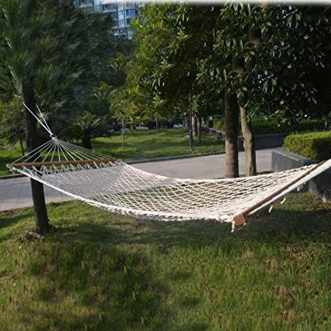 78u0027u0027x50u0027u0027 2 Person Hammock Cotton Rope Wood Frame Outdoor Tree Patio
