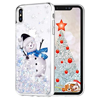 Maxdara Christmas Case For Iphone Xs Max Merry Christmas Snowman Pattern Glitter Liquid Bling Sparkle Pretty Cute Case For Girls Children Women Gifts