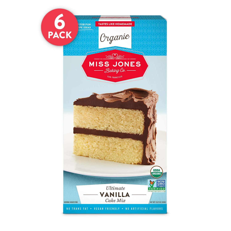 Miss Jones Baking Organic Yellow Cake and Cupcake Mix, Non-GMO, Vegan-Friendly, Moist and Fluffy: Vanilla (Pack of 6) by Miss Jones Baking