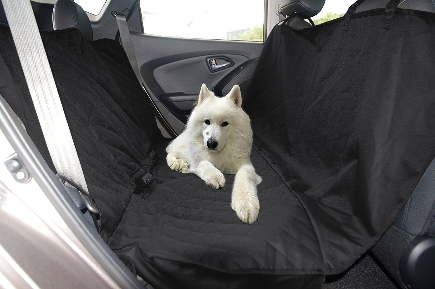 iCOVER Pet Car Bench Seat Cover, Dog Seat Cover for Trucks and SUVs, Quilted Rear Seat Cover, Waterproof Pet Seat Cover, Washable Seat Protector, Nonslip backing, Black Color Hammock Style PSC21502