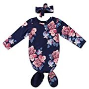 Newborn Baby Girls Sleepy Floral Striped Gown Headband Sleepwear Romper Sleeping Bags (0-3M, Blue Floral)