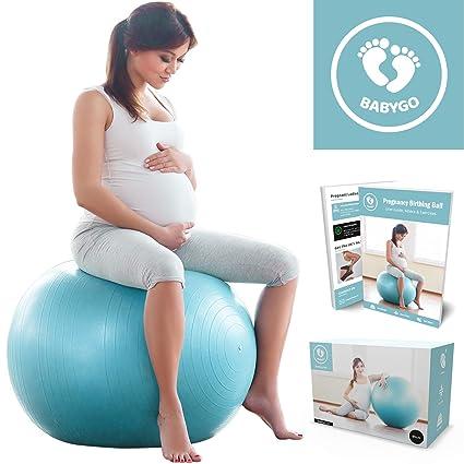 BABYGO Pelota de Pilates Embarazadas, Fitball, Ejercicio, Balón de Gimnasia Anti-Burst 1000 KG para Parto y Embarazo,Yoga, Fitness Bola con Bomba + ...