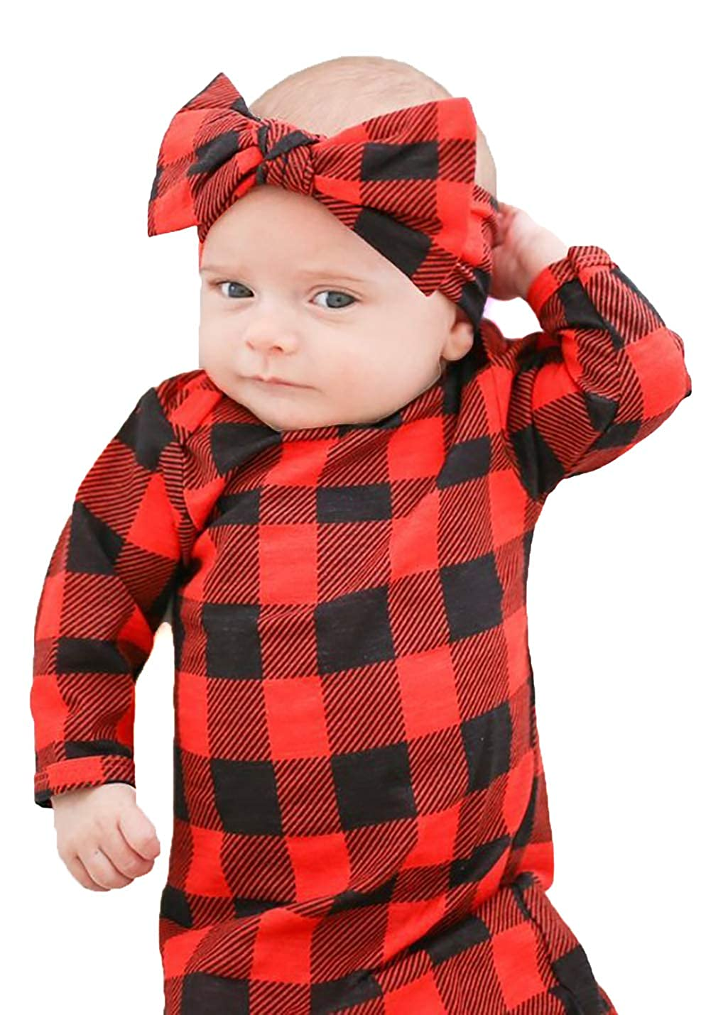 Soft Stretchy Cotton Buffalo Sleep Gown Tie Bottom Infant Baby Tie Nightgown and Matching Headband Boy Girl