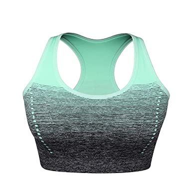 Gradient H Back Sports Bras Padded Wire Free Breathable Seamless Sports Tops