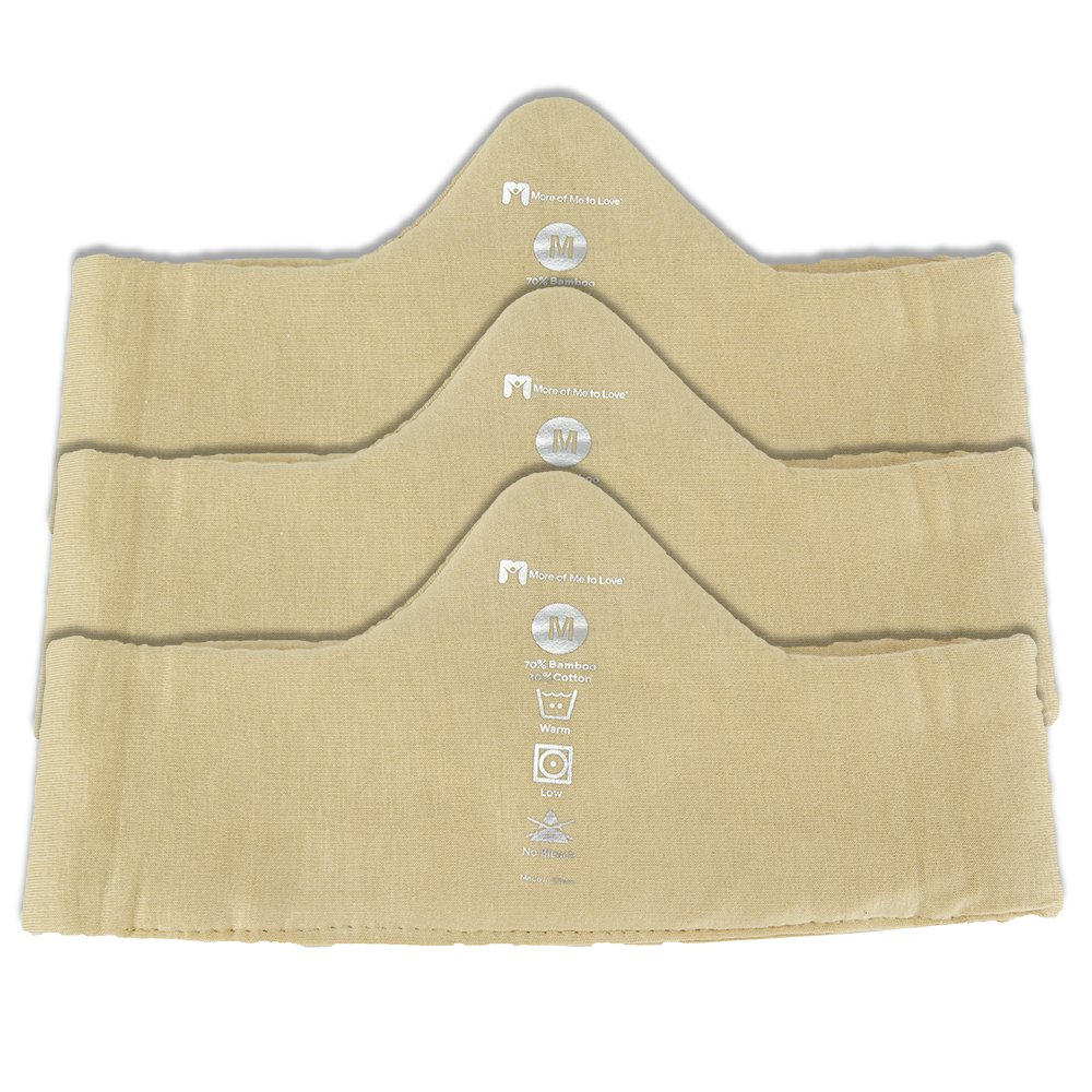 Ultra Soft Bamboo-Cotton Bra Liner (Beige, 3-Pack, M) - No Tags, No Seams, No Discomfort