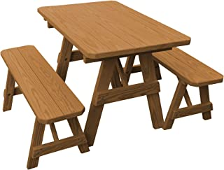 product image for Pressure Treated Pine 4 Foot Picnic Table with Detached Benches- Oak Stain