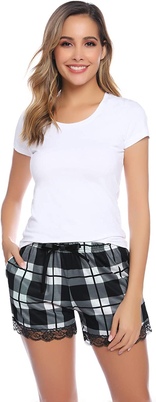 Hawiton Womens Plaid Pajama Shorts Bottoms with Pockets Cotton Sleeping Shorts Lounge Stretchy Sleepwear Short
