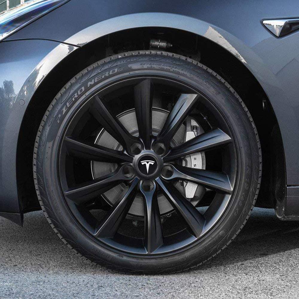 4 Hub Center Cap + 20 Lug Nut Cover Vonluxsue Tesla Model 3 S /& X Aero Wheel Cap Kit White