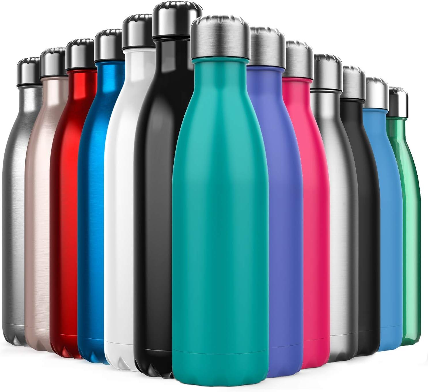 Invool Botella de Agua de Acero Inoxidable,Diseño de Pared Doble,Boca EstáNdar,para Correr,Gimnasio,Yoga,Ciclismo,500ML,Azul Turquesa