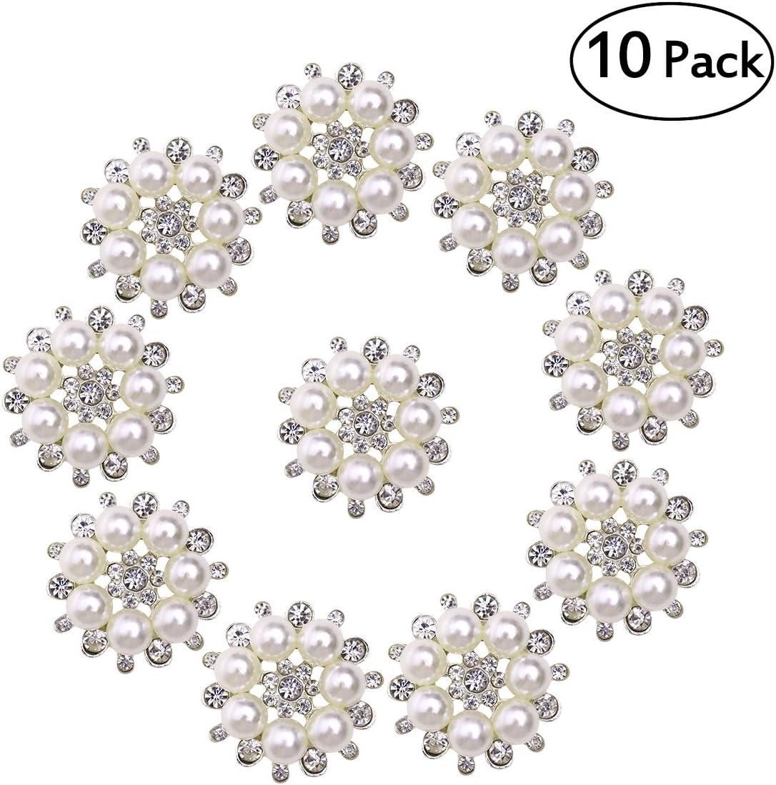 ULTNICE Botones de perla botón con perlas y brillantes falsos para manualidades de 30 mm 10 unidades