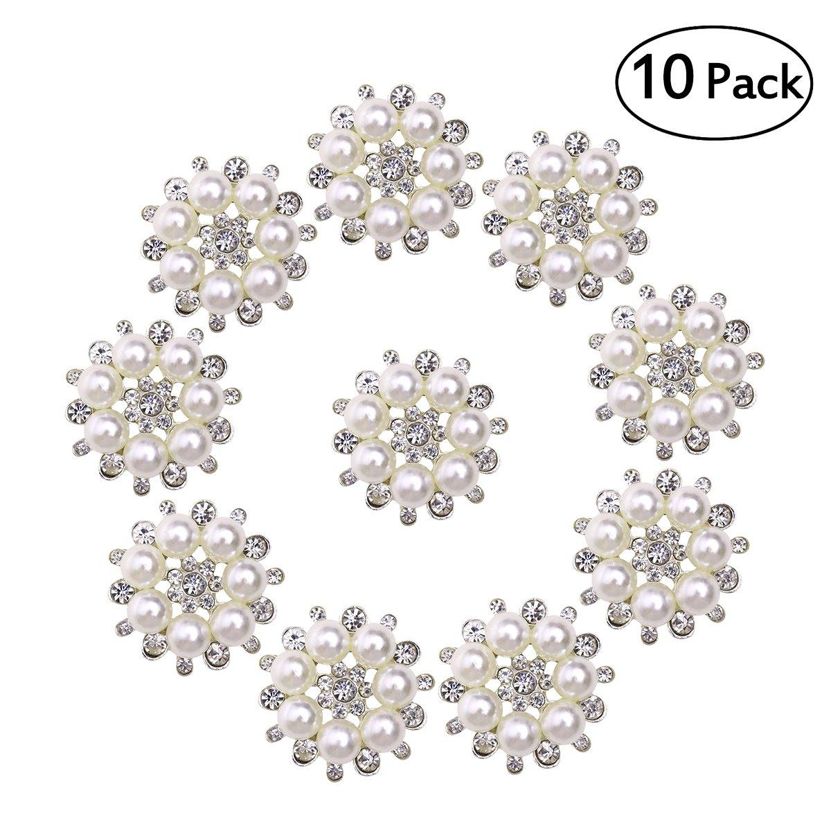 Bottoni di perla ULTNICE Pulsante con perline e strass finte per mestieri fai da te di 30 mm 10PCS
