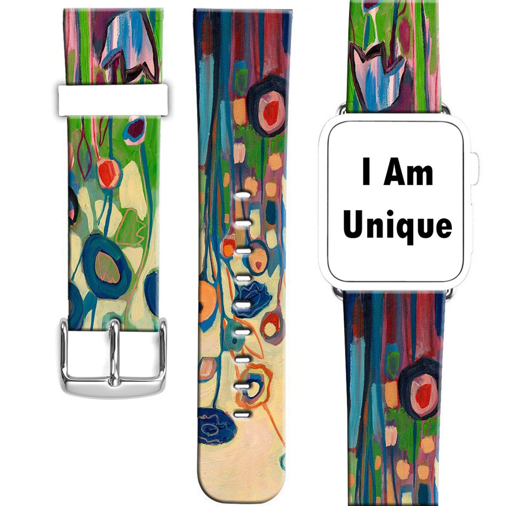 Strap Compatible for Apple Watch Series 4/3/2/1 44mm/42mm - ENDIY Designer Leather Fashionable Band Replacement for Iwatch Impression Line and Floor Pattern by ENDIY (Image #2)