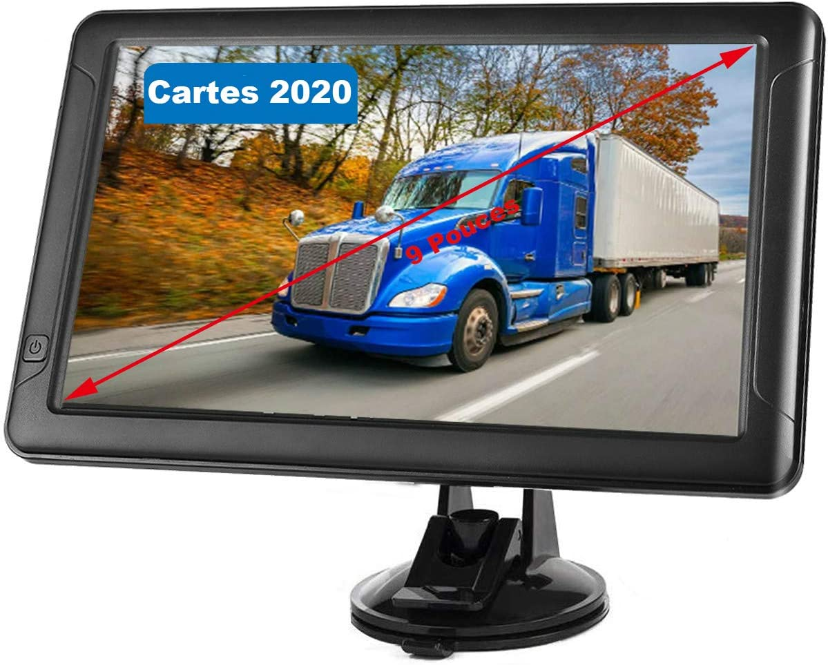 Navegador GPS de 9 pulgadas para coche, 8 GB con pantalla táctil, multilenguaje para coche, camión, peso pesado, 2020 mapas de Europa
