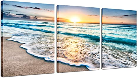 Amazon Com Beach Decor Framed Wall Art 3 Panel Sea Wave Sunset Poster Canvas Print Home Office Decorations For Living Room Seascape Modern Artwork Ocean Painting Pictures For Bedroom Ready To Hang