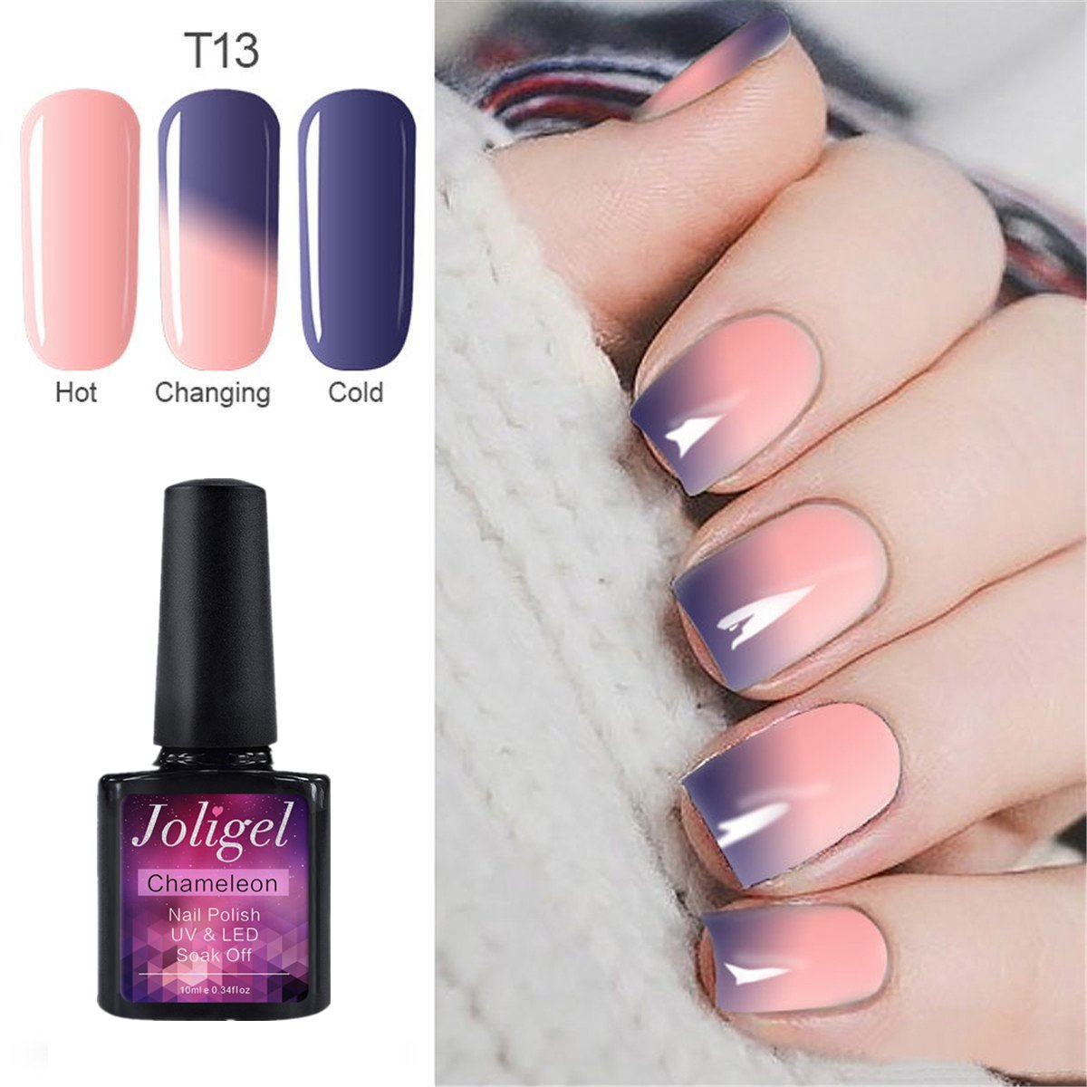 Joligel UV LED Esmalte Uñas Gel Kit, 6pcs Esmaltes Semipermanentes Camaleón Cambio de Color con Temperatura Soak Off 10ML Laca Shellac Manicura ...