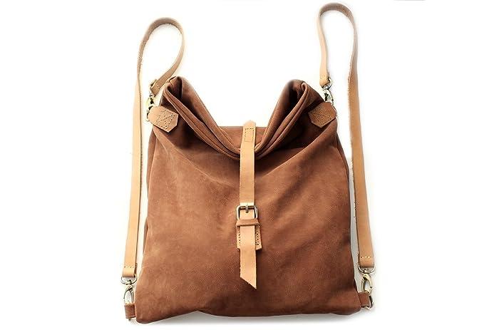 Roby BACKPACK, mochila de piel muy soave, marron