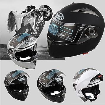 Casco de Moto de Doble Lente con Visera Integral Casco de Protección de Motocicleta (XXL