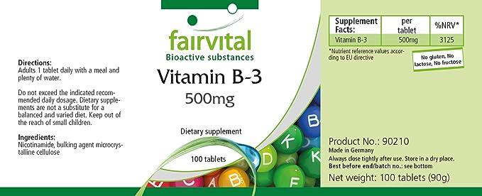 Vitamina B3 Niacina 500 mg - Bote para 100 días - VEGANO - Alta dosificación - 100 comprimidos - nicotinamida: Amazon.es: Salud y cuidado personal