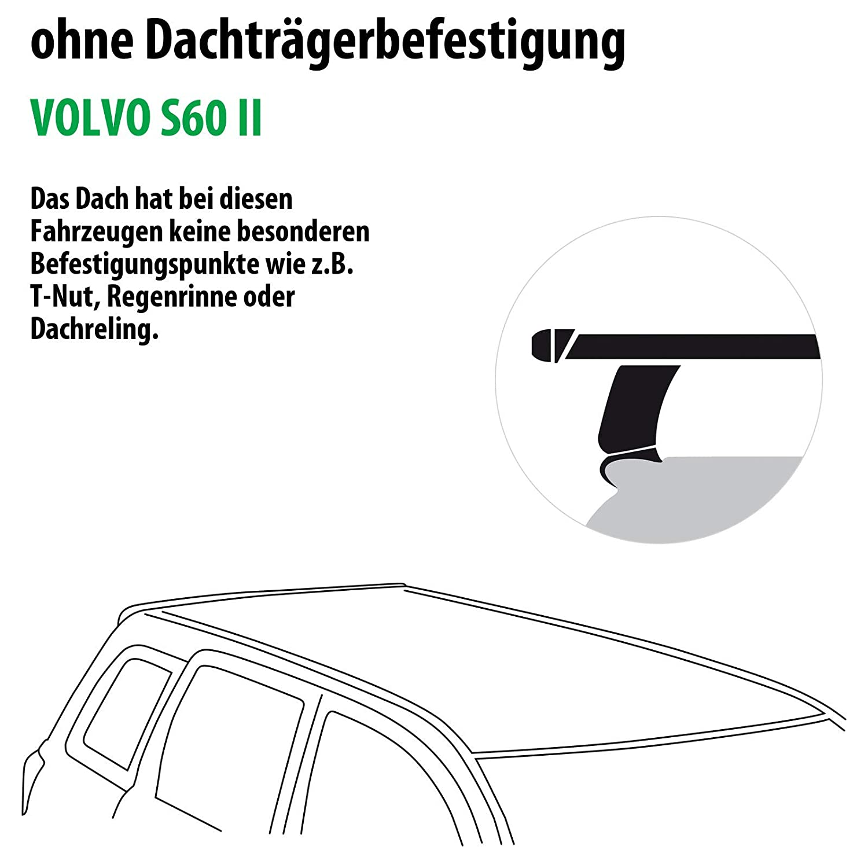 Dachtr/äger Tema f/ür Volvo S60 II Rameder Komplettsatz 123590-08616-5
