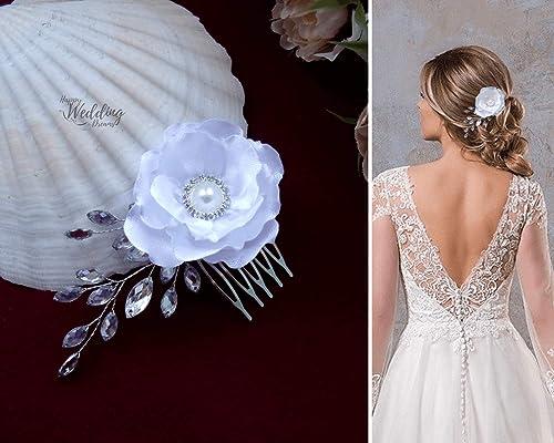 Hwd Elsa Peigne Cheveux Fleur Bijou Chignon Mariage Coiffure Mariee Coiffe De Tete Ceremonie Satin Strass Amazon Fr Handmade