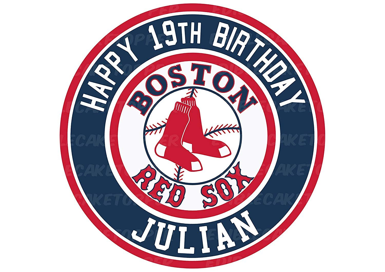 Boston Red Sox Edible Image Cake Topper Personalized Birthday 10 ...