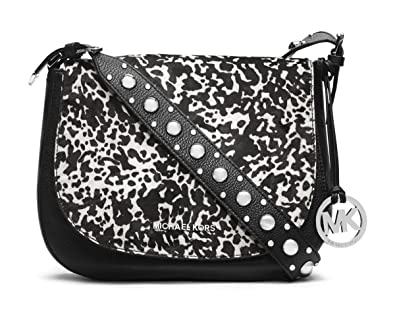 18ad3ec42ba7a5 MICHAEL Michael Kors Hayes Haircalf Large Leather Messenger in White/Black:  Amazon.co.uk: Shoes & Bags