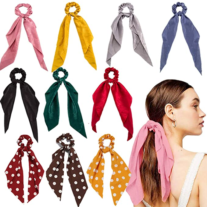 Details about  /Christmas Scrunchies w// Ribbon Bow Scarf Snowflake Santa Pontayil Hair Ties