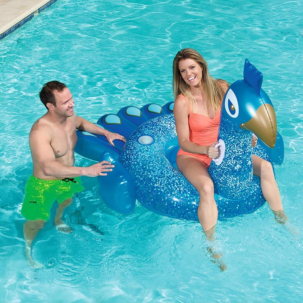 HECHEN Swimming Inflatable Floating Row 198164cm Children's Water Riding Toy Adult Large Peacock Shape Swimming Ring air Bed by HECHEN (Image #2)