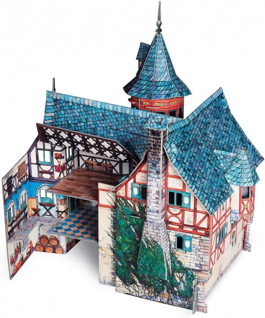 """UMBUM Innovative 3D Puzzle New Town Hall Medieval Town Clever Paper 10/"""" x 12/"""" x 7/½/"""" 33 pcs 414"""