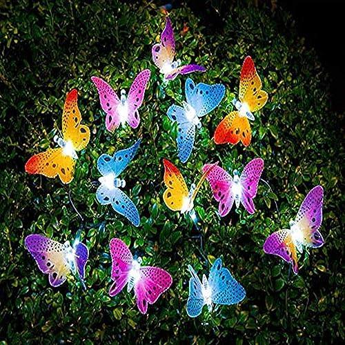 Outdoor String Lights, Solar Energy String Lights, 20pcs Multi-Color Fiber Optic Butterfly Lights, 16ft Length, Waterproof LED Strand Lights for Patio, Lawn Garden Decoration