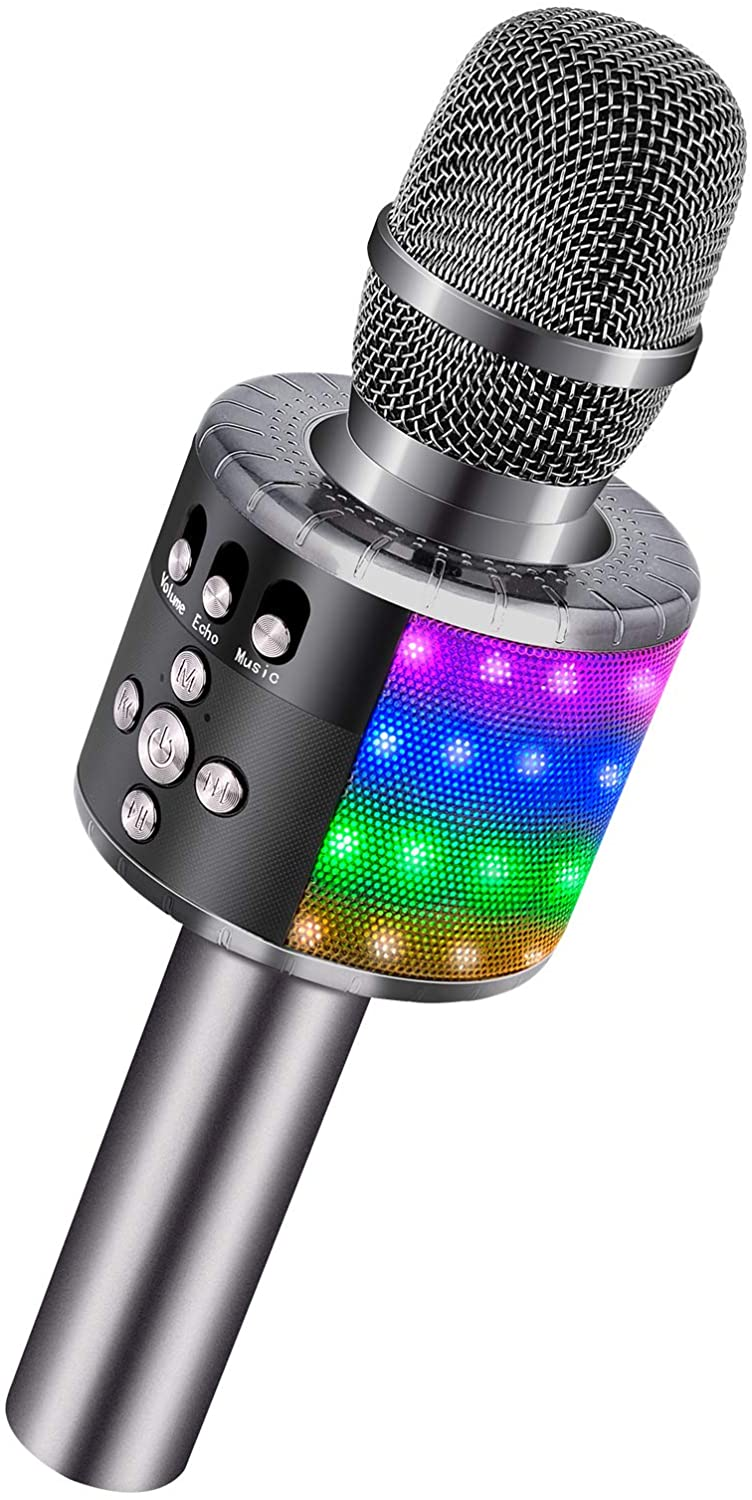 BONAOK Wireless Bluetooth Karaoke Microphone with Controllable LED Lights, Portable Handheld Karaoke Speaker Machine Christmas Birthday Home Party for Android/iPhone/PC