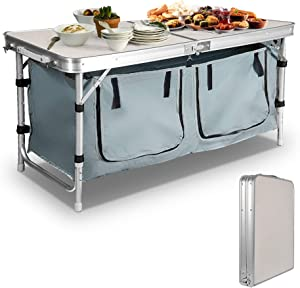 TRY & DO Folding Camping Table with Storage Organizer Outdoor Picnic Table with Carry Handle Adjustable Height Aluminum Lightweight Portable for BBQ,Beach,Party and Travel