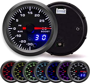 """Waricaca 30 PSI 7 Color Turbo Boost/Vacuum Gauge Kit - Includes Mechanical Hose and T-Fitting - Black Dial with Pointer and LED Digital Readouts - for Car & Truck - 2-1/16"""" 52mm"""