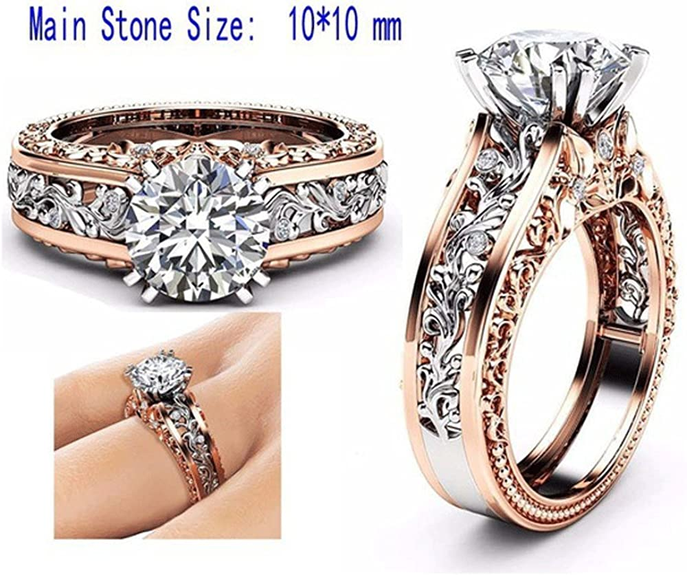 Aunimeifly Women Color Separation CZ Diamond Rose Gold Floral Wedding Engagement Ring