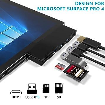 Rytaki Surface Pro 4 Concentrador USB de con 4K HDMI, 3 Puertos USB 3.0(5Gps), Lector de Tarjetas SD/Micro SD para Surface Pro 2017/2018【Versión ...