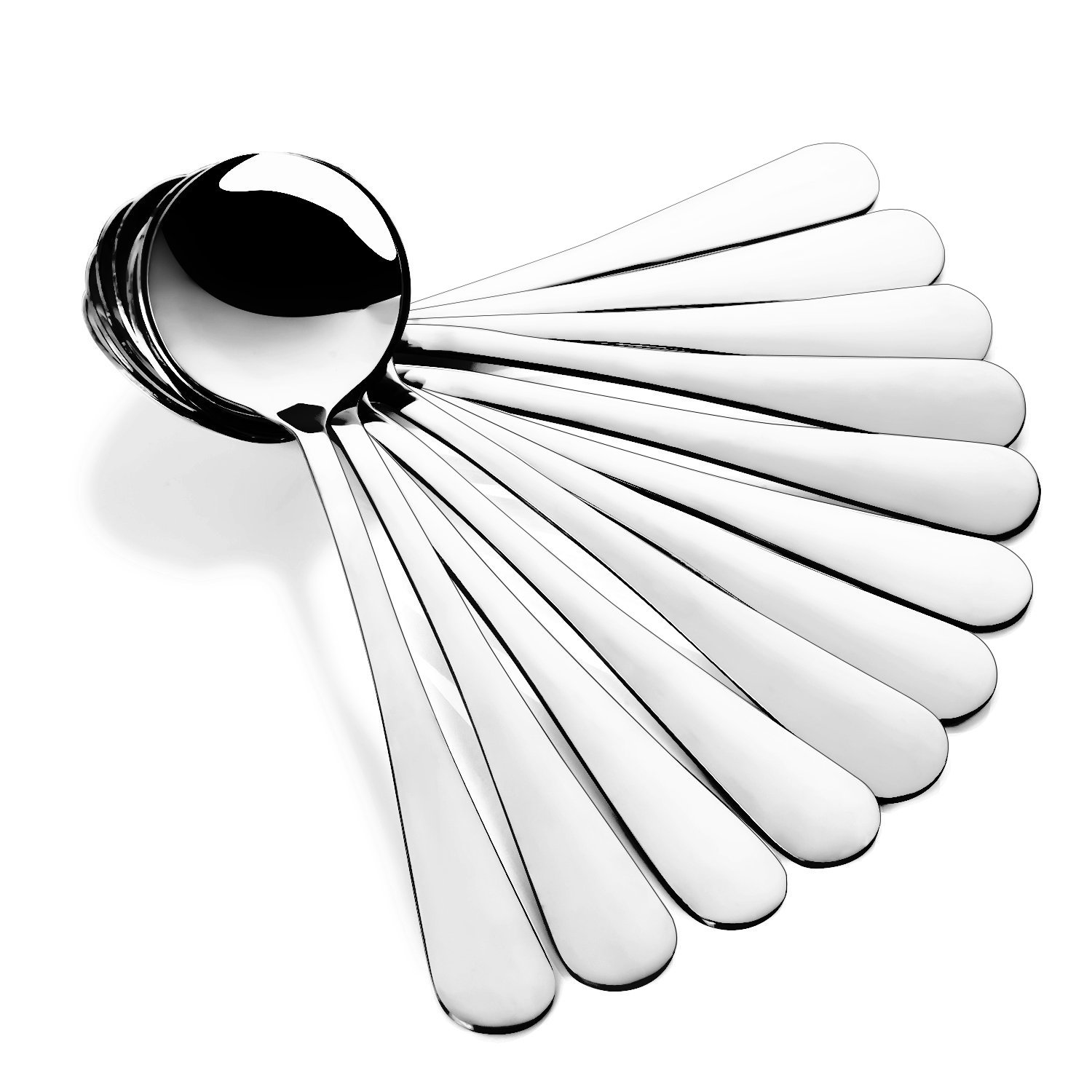 Hiware Soup Spoons, Round Stainless Steel Bouillon Spoons, Set of 12 HSS675