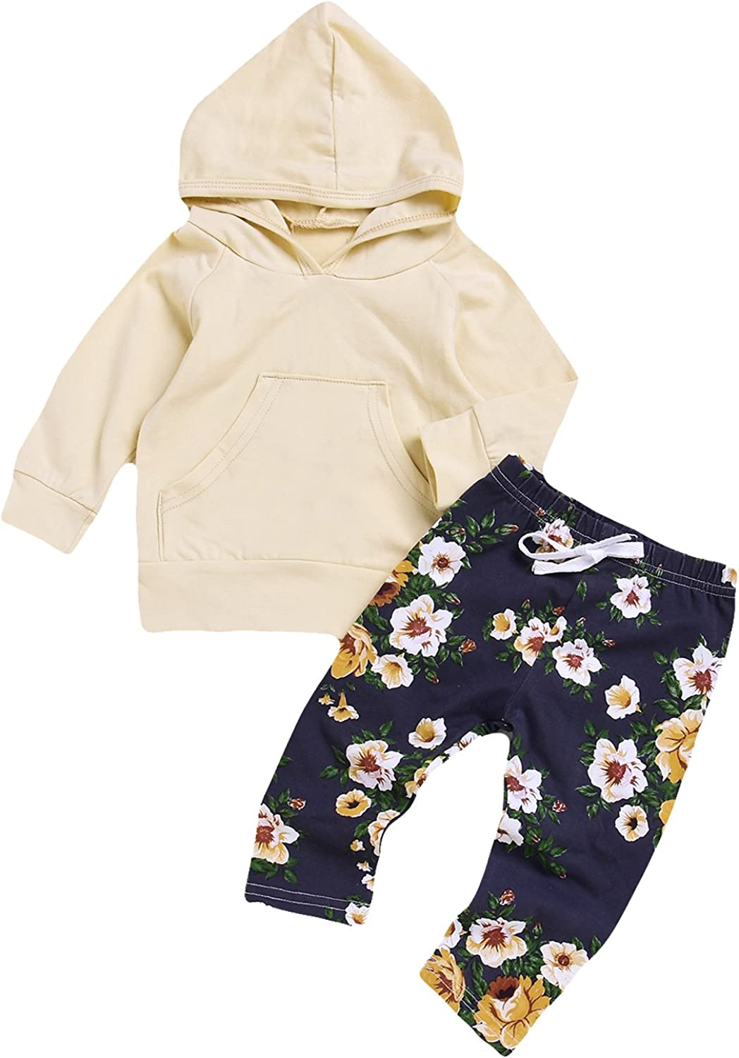 Baby Girls Outfit Sets Floral Printed Hoodie Pants 2 PCS Toddler Jacket