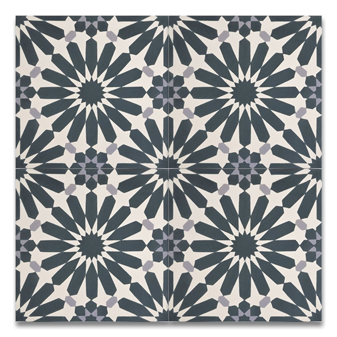 Moroccan Mosaic & Tile House CTP54-03 Alhambra 8''x8'' Handmade Cement Tile in Navy Blue and Gray(Pack of 12), Navy BlueWhiteGray by Moroccan Mosaic & Tile House