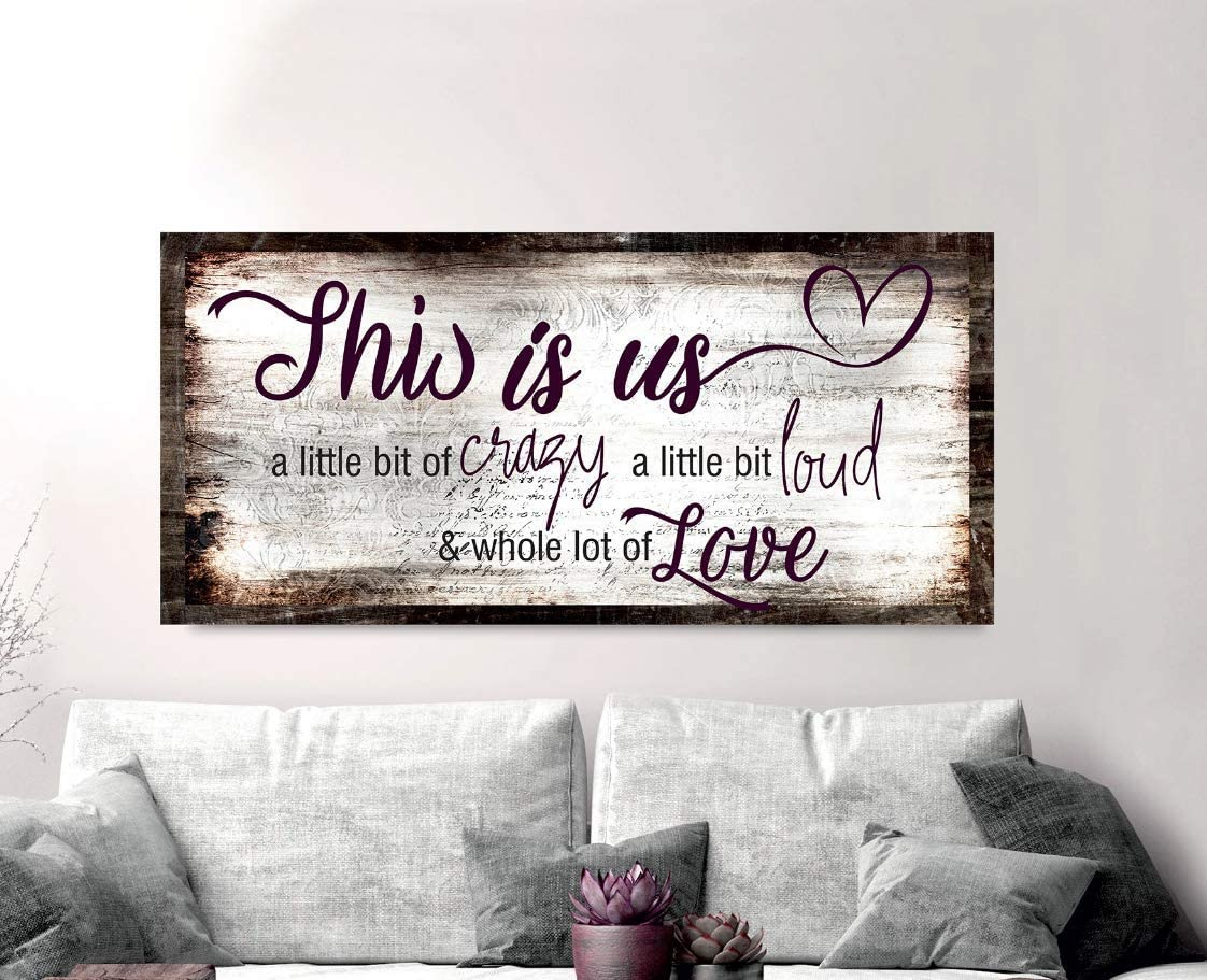 New Sense of Art   Family a Little Bit of Crazy Whole Lot of Love Quote V2   Wood Framed Canvas   Ready to Hang Wall Art for Home and Bedroom Decoration (Brown, 42x19)