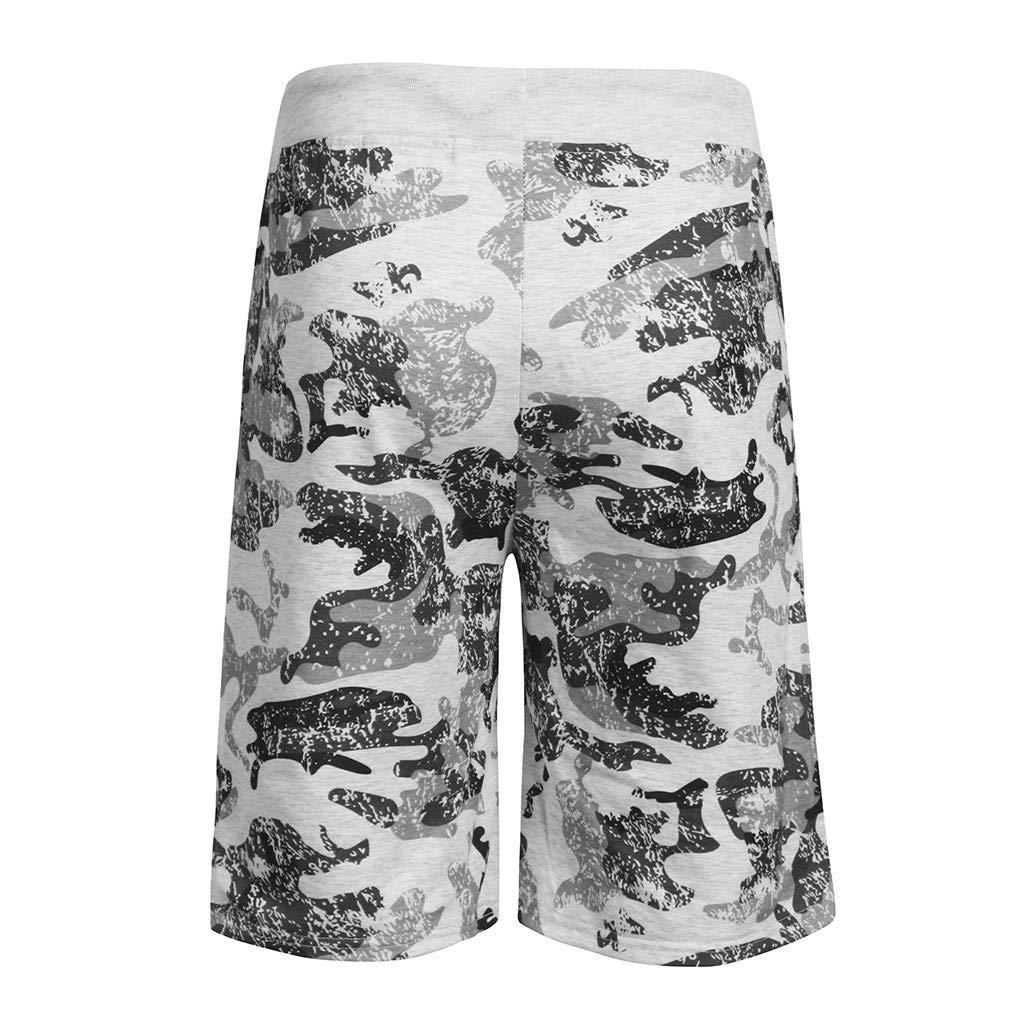 TIANMI Men Spring Summer Camouflage Printed Drawstring Beach Surfing Running Short Pant