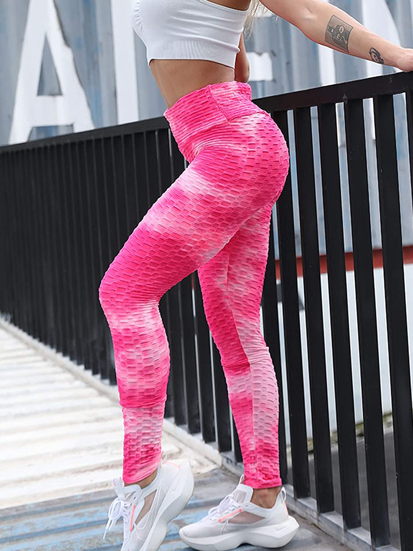 ZZLBUF Damleggings dam knytfärgat tryck hög midja yogabyxor sportbyxor Rosa