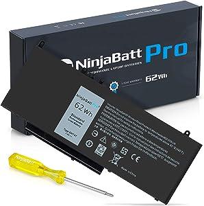 NinjaBatt Battery 6MT4T for Dell Latitude E5470 E5570 Precision 3510 7V69Y TXF9M 79VRK 07V69Y 0HK6DV 079VRK 0TXF9M 451-BBUN 451-BBTW 0C1P4 - Higher Performance [7.6V/62Wh]