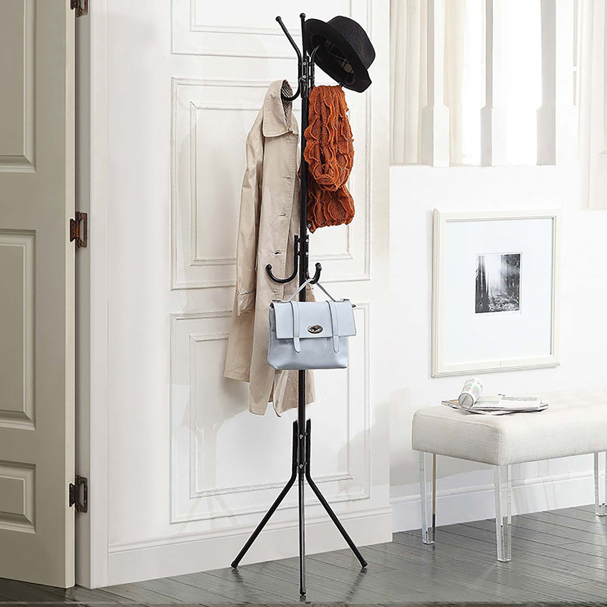 Office Coat Tree Throughout 173cm Metal Coat Rack Free Standing Garage Foyer Office Closet Tree With Tiers 11