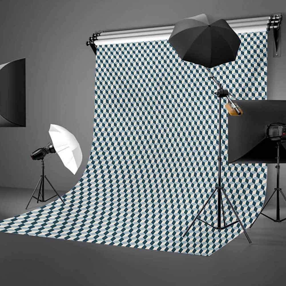 Geometric 10x15 FT Photography Backdrop 3D Effect with Stacked Cubes Pattern Grid Style Squares Arrangement Background for Baby Shower Bridal Wedding Studio Photography Pictures Pale Blue Dark Blue