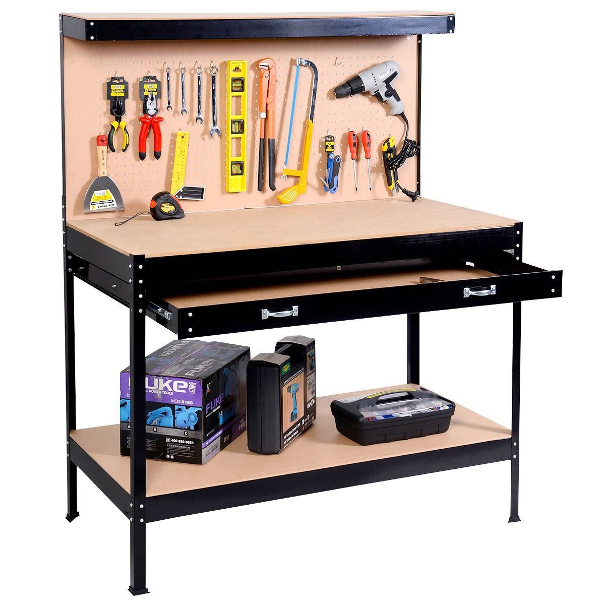 workbenches with metal depot accessories olympia x w the d h built drawers steel ft black in power workbench lighting home and p
