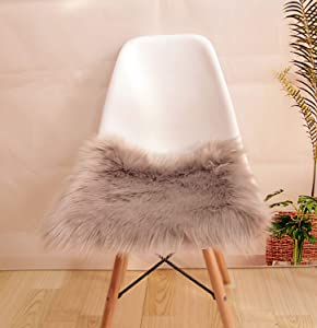 Super Soft Faux Fur Sheepskin Rugs Soft Plush seat Cover Pads for Chair Living & Bedroom Sofa Grey,18x18 Inch