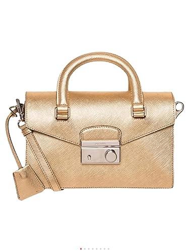 13d664065a Prada Women s Saffiano Mini Bag Gold  Handbags  Amazon.com