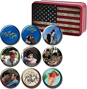 Call me by Your Name Button Pins Gift Box Set of 9 Pack, American US Flag Stars & Stripes Tin Box, Movie Merch Room Décor Birhtday Christmas Gifts, 1222-P001